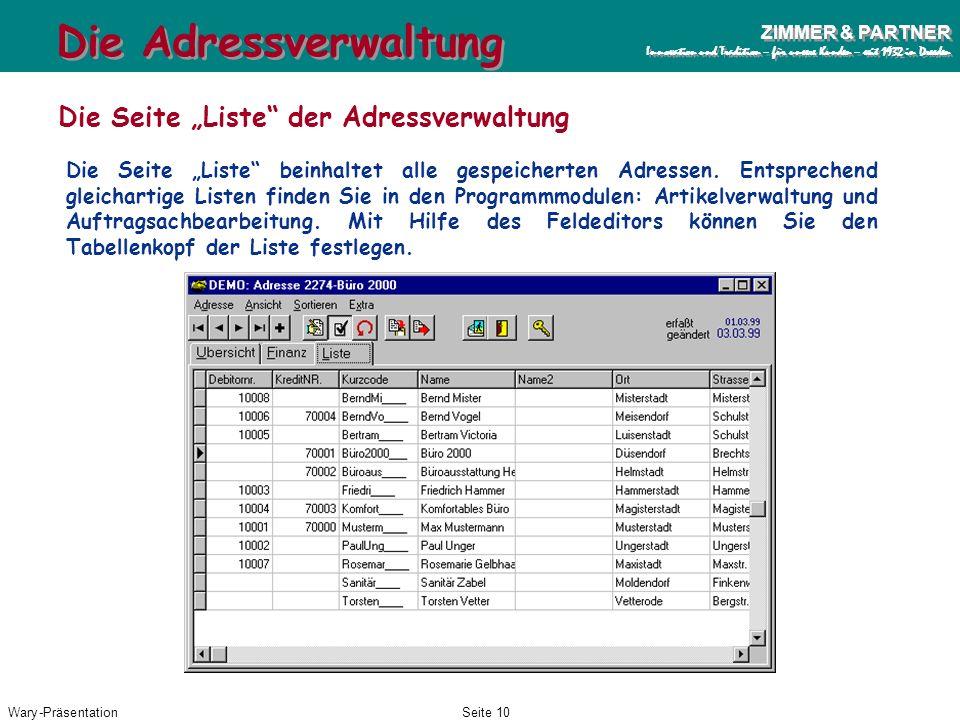 """Die Adressverwaltung Die Seite """"Liste der Adressverwaltung"""