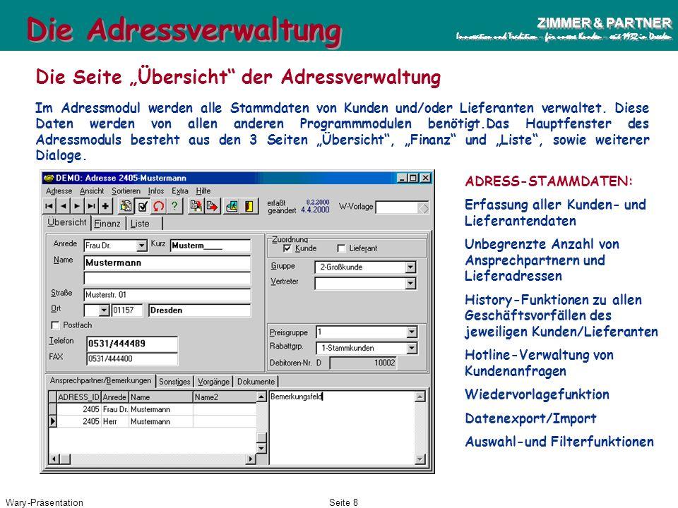 """Die Adressverwaltung Die Seite """"Übersicht der Adressverwaltung"""