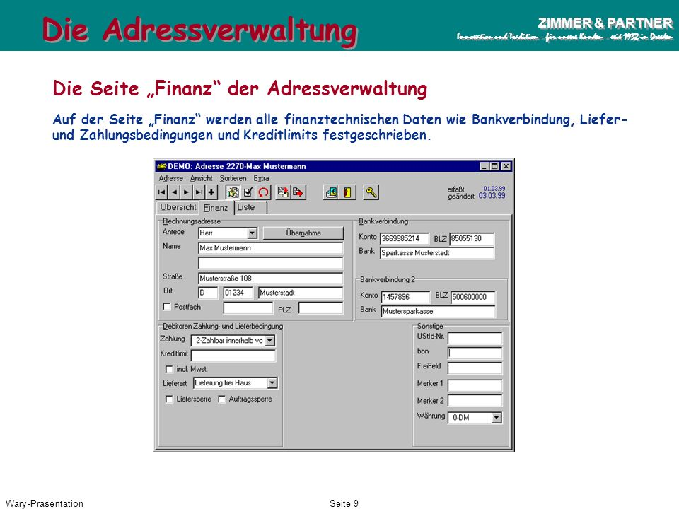 """Die Adressverwaltung Die Seite """"Finanz der Adressverwaltung"""