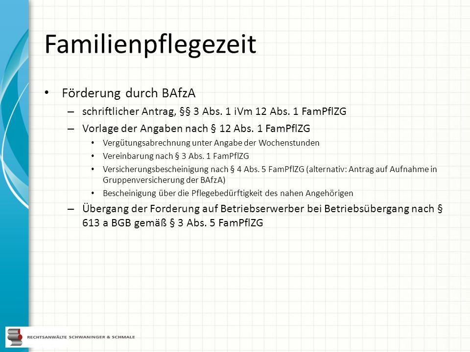 Familienpflegezeit Förderung durch BAfzA