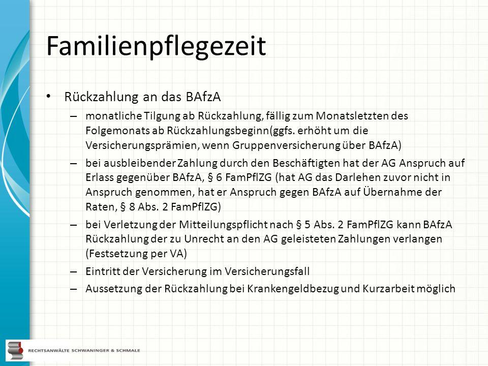 Familienpflegezeit Rückzahlung an das BAfzA