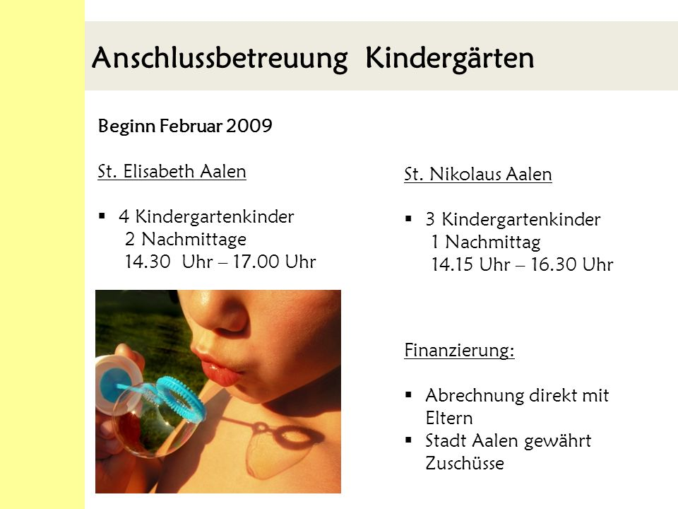 Anschlussbetreuung Kindergärten