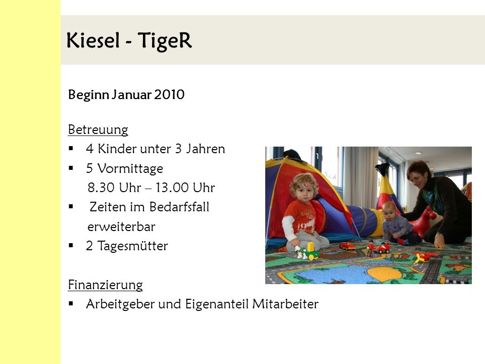 Kiesel - TigeR Beginn Januar 2010 Betreuung 4 Kinder unter 3 Jahren