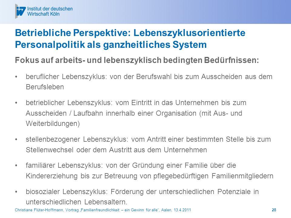 Betriebliche Perspektive: Lebenszyklusorientierte Personalpolitik als ganzheitliches System
