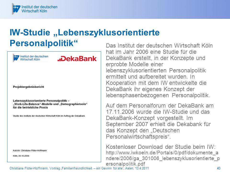 """IW-Studie """"Lebenszyklusorientierte Personalpolitik"""