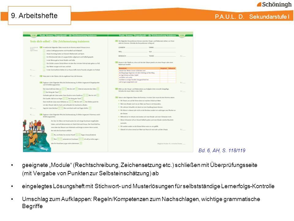 """9. Arbeitshefte Bd. 6, AH, S. 118/119. geeignete """"Module (Rechtschreibung, Zeichensetzung etc.) schließen mit Überprüfungsseite."""
