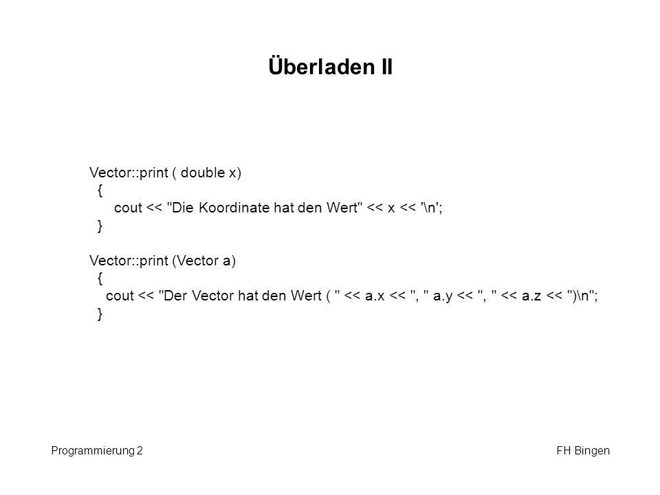 Überladen II Vector::print ( double x) {