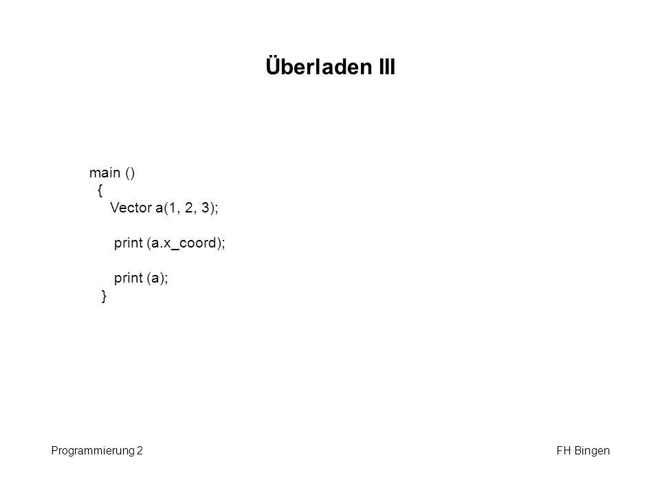 Überladen III main () { Vector a(1, 2, 3); print (a.x_coord);