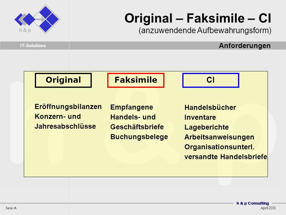 Original – Faksimile – CI (anzuwendende Aufbewahrungsform)
