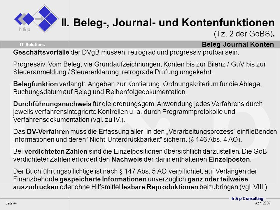 II. Beleg-, Journal- und Kontenfunktionen (Tz. 2 der GoBS).