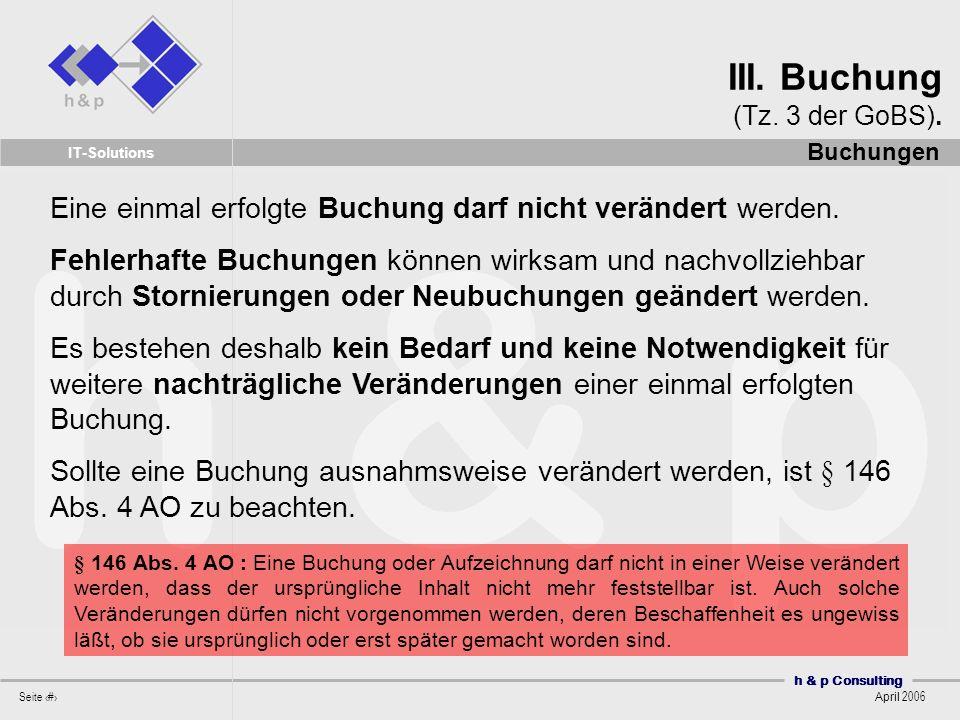 III. Buchung (Tz. 3 der GoBS).