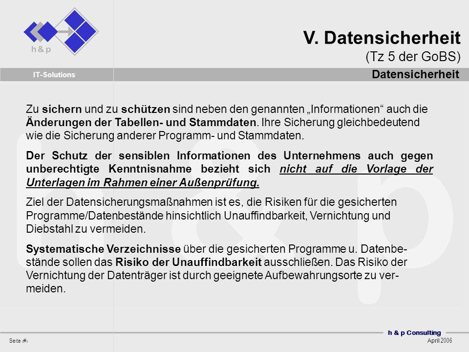 V. Datensicherheit (Tz 5 der GoBS)