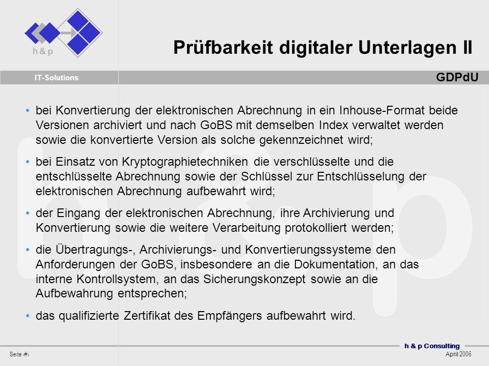 Prüfbarkeit digitaler Unterlagen II