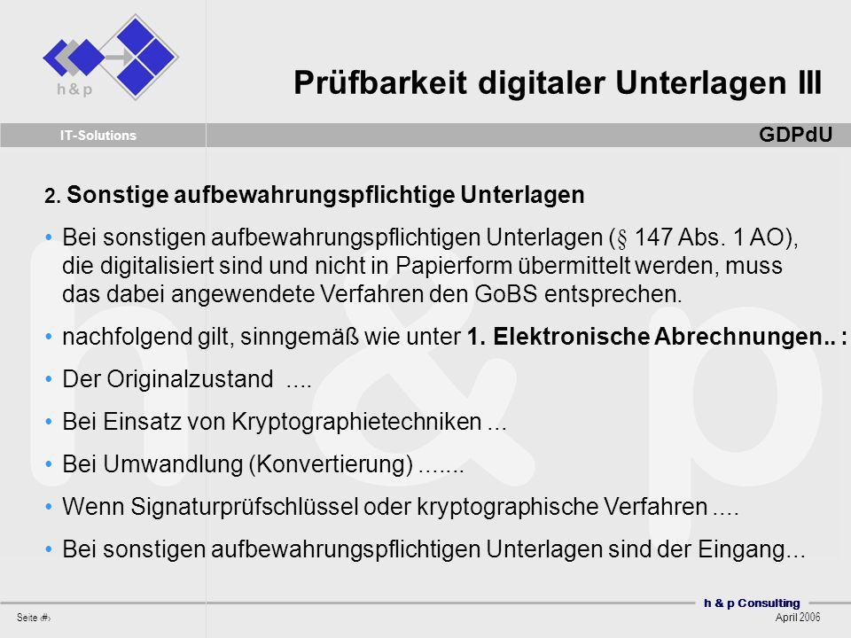 Prüfbarkeit digitaler Unterlagen III