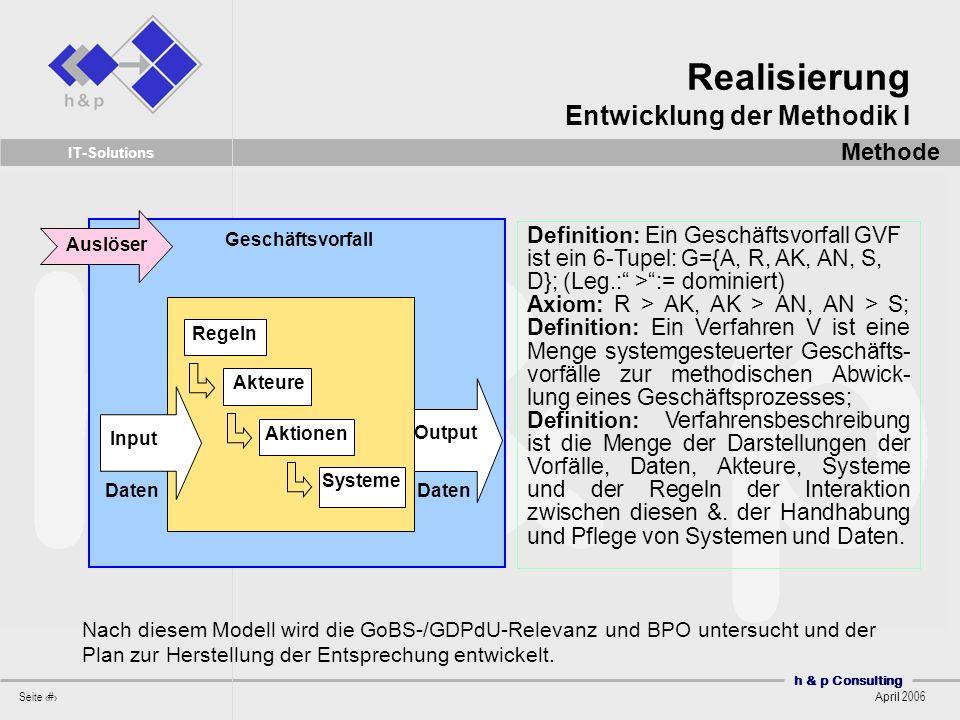 Realisierung Entwicklung der Methodik I