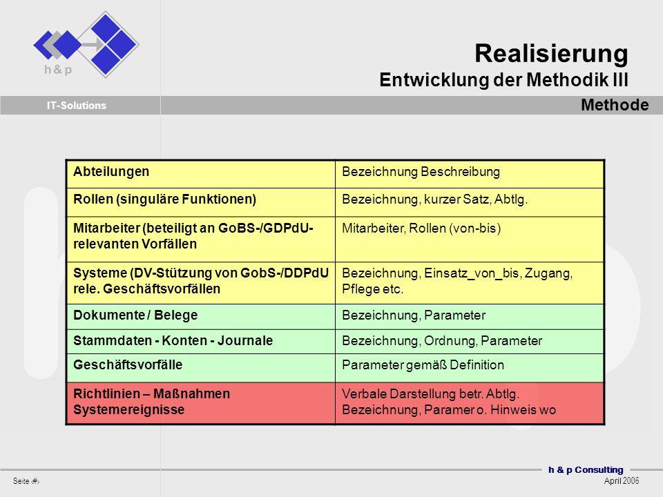 Realisierung Entwicklung der Methodik III