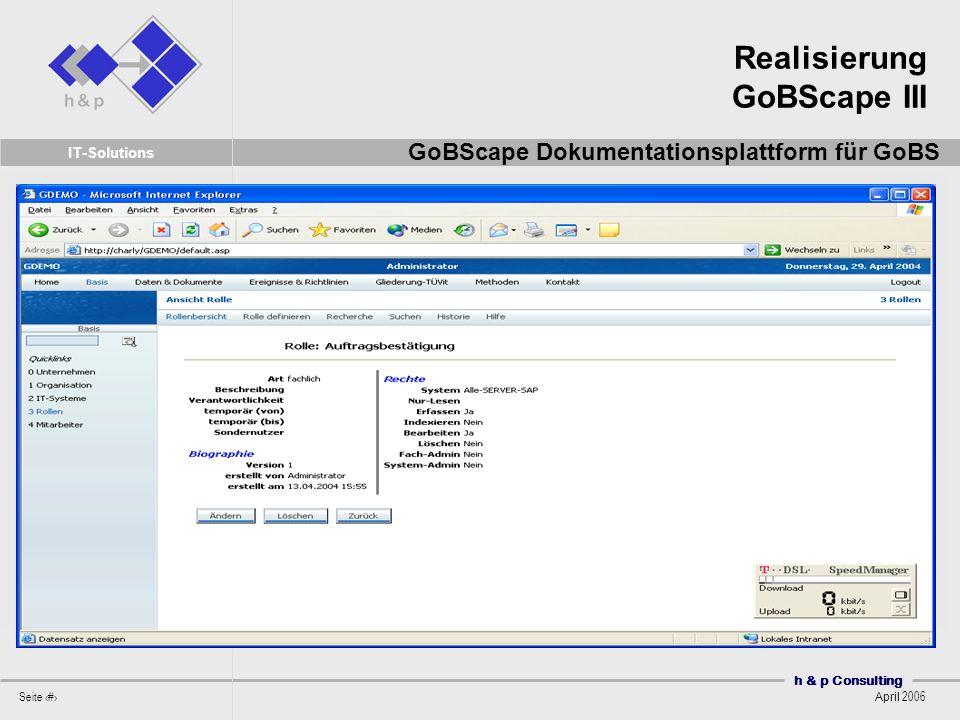 Realisierung GoBScape III