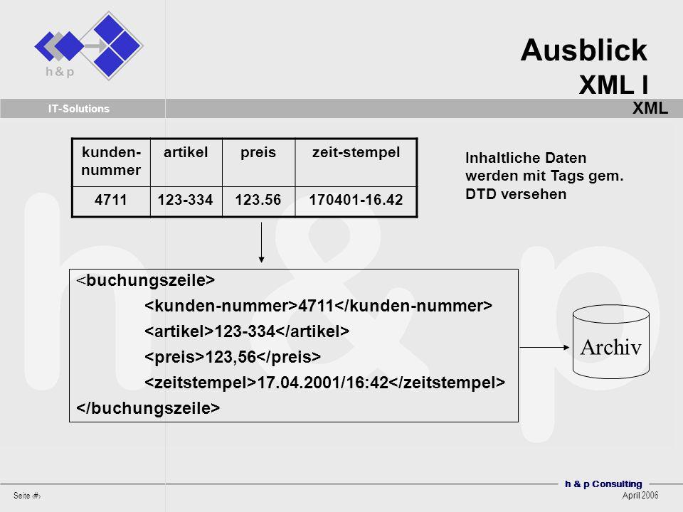 Ausblick XML I Archiv XML <buchungszeile>