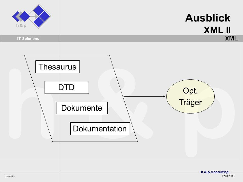 Ausblick XML II XML Thesaurus Opt. Träger DTD Dokumente Dokumentation