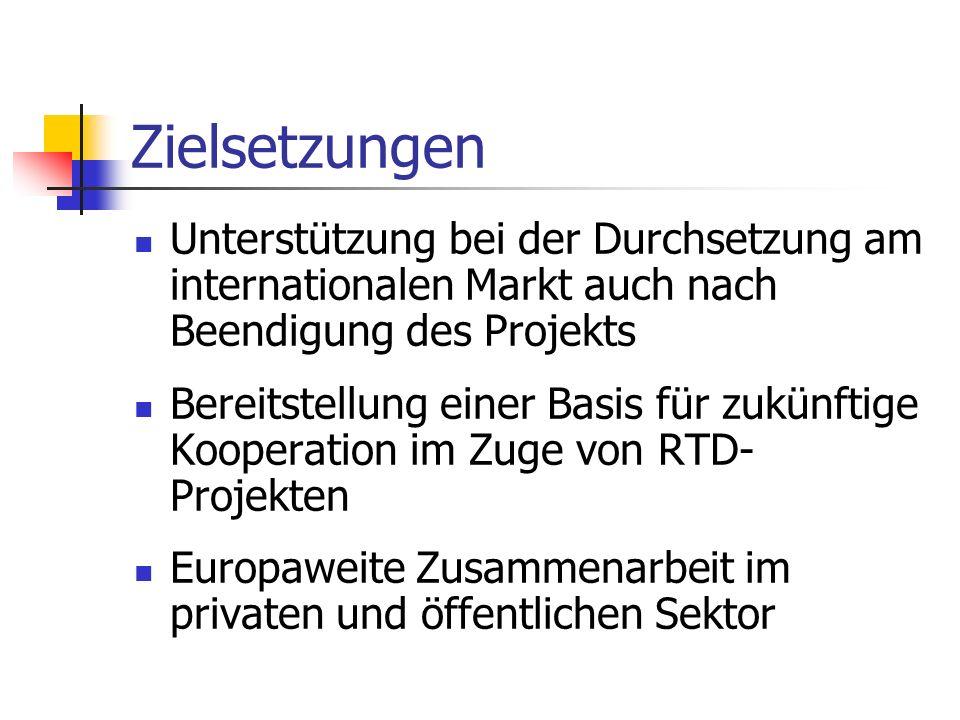 Zielsetzungen Unterstützung bei der Durchsetzung am internationalen Markt auch nach Beendigung des Projekts.