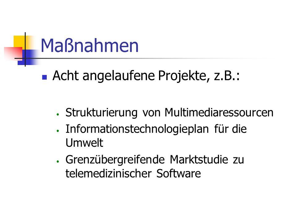 Maßnahmen Acht angelaufene Projekte, z.B.: