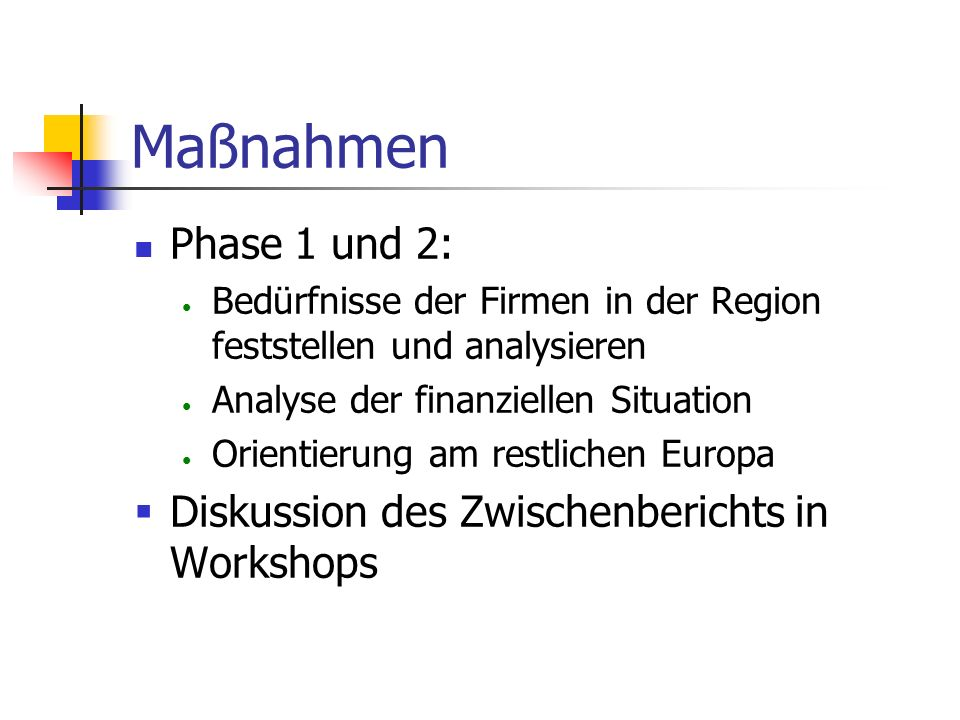 Maßnahmen Phase 1 und 2: Diskussion des Zwischenberichts in Workshops