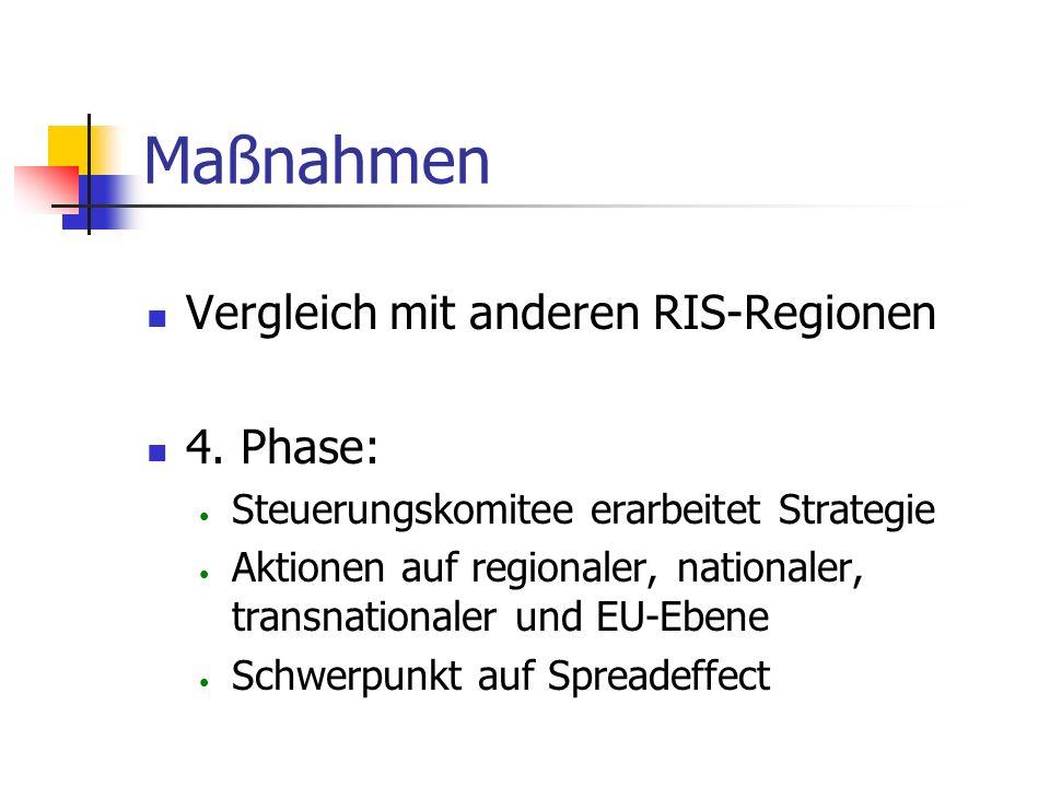Maßnahmen Vergleich mit anderen RIS-Regionen 4. Phase: