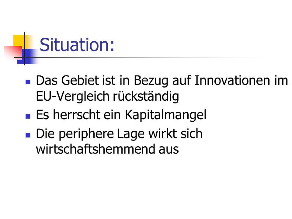 Situation: Das Gebiet ist in Bezug auf Innovationen im EU-Vergleich rückständig. Es herrscht ein Kapitalmangel.