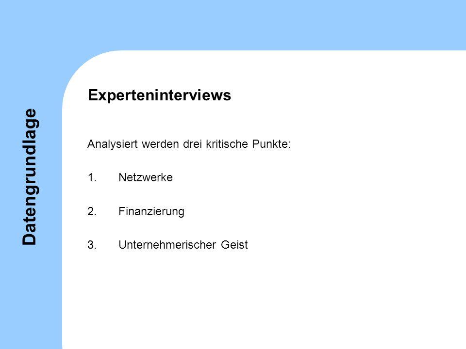 Datengrundlage Experteninterviews