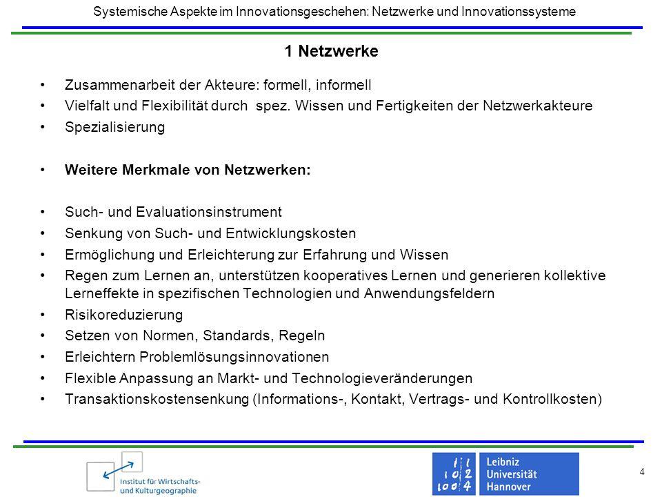 1 Netzwerke Zusammenarbeit der Akteure: formell, informell