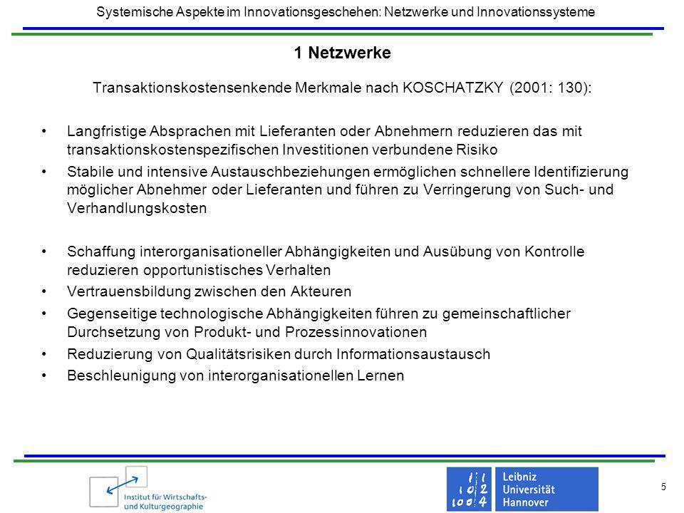 Transaktionskostensenkende Merkmale nach KOSCHATZKY (2001: 130):