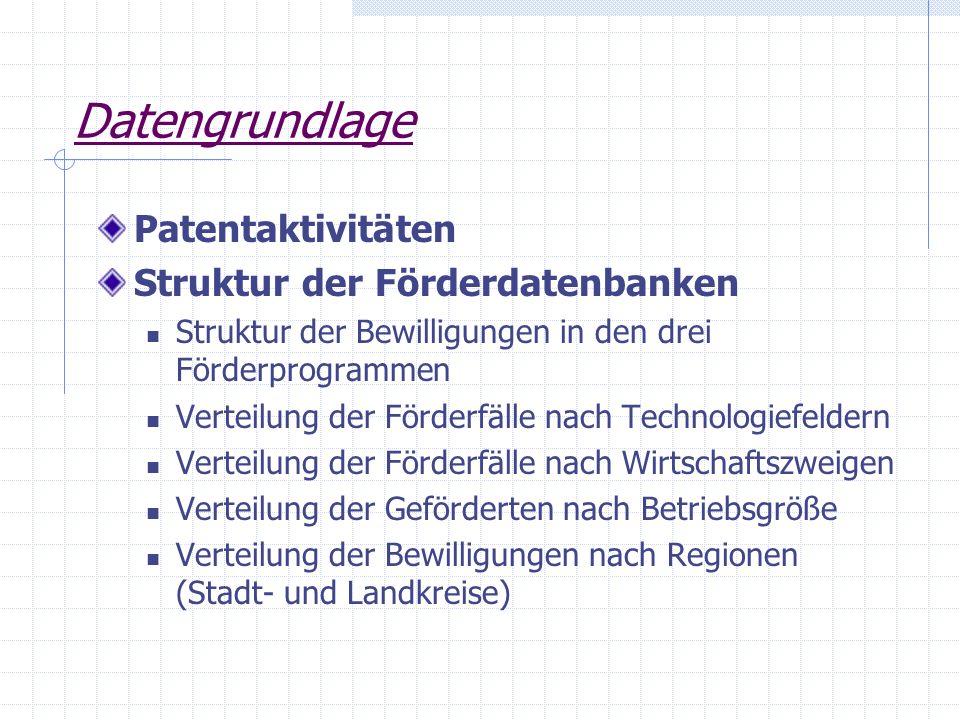 Datengrundlage Patentaktivitäten Struktur der Förderdatenbanken