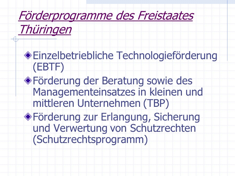 Förderprogramme des Freistaates Thüringen