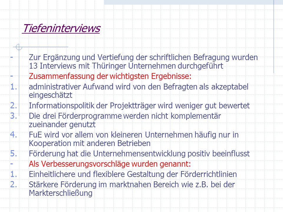 Tiefeninterviews Zur Ergänzung und Vertiefung der schriftlichen Befragung wurden 13 Interviews mit Thüringer Unternehmen durchgeführt.