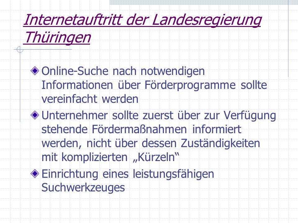 Internetauftritt der Landesregierung Thüringen