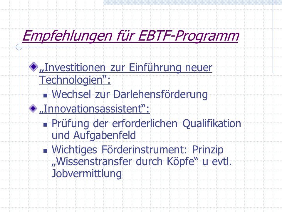Empfehlungen für EBTF-Programm
