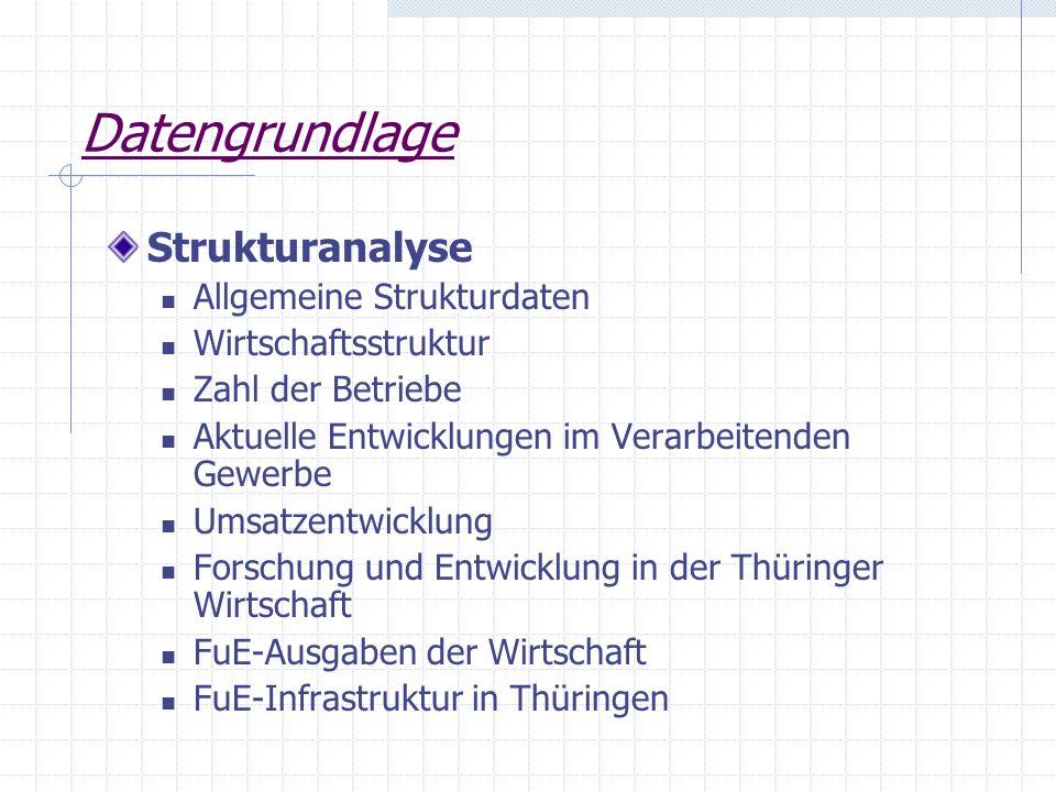 Datengrundlage Strukturanalyse Allgemeine Strukturdaten