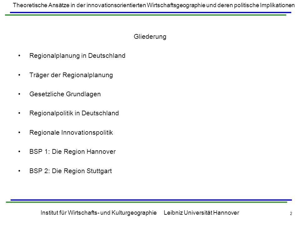 Gliederung Regionalplanung in Deutschland. Träger der Regionalplanung. Gesetzliche Grundlagen. Regionalpolitik in Deutschland.
