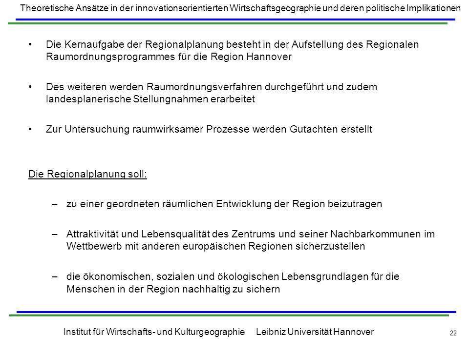 Die Kernaufgabe der Regionalplanung besteht in der Aufstellung des Regionalen Raumordnungsprogrammes für die Region Hannover