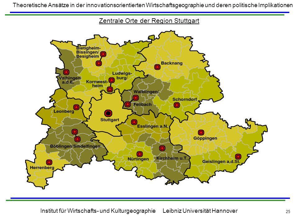 Zentrale Orte der Region Stuttgart