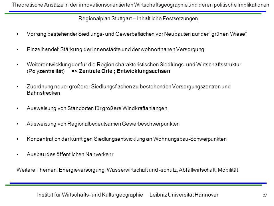 Regionalplan Stuttgart – Inhaltliche Festsetzungen