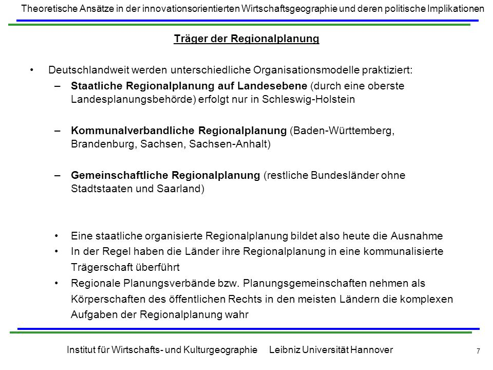 Träger der Regionalplanung