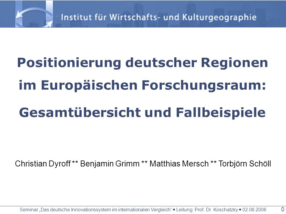 Positionierung deutscher Regionen im Europäischen Forschungsraum: Gesamtübersicht und Fallbeispiele