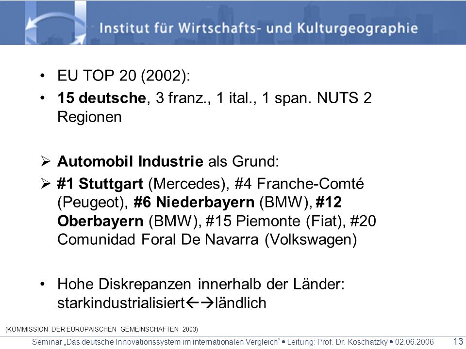 (KOMMISSION DER EUROPÄISCHEN GEMEINSCHAFTEN 2003)