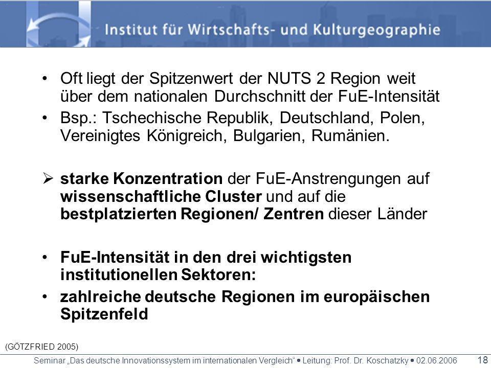 FuE-Intensität in den drei wichtigsten institutionellen Sektoren: