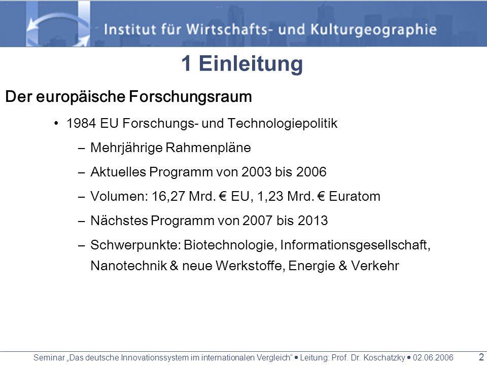 1 Einleitung Der europäische Forschungsraum