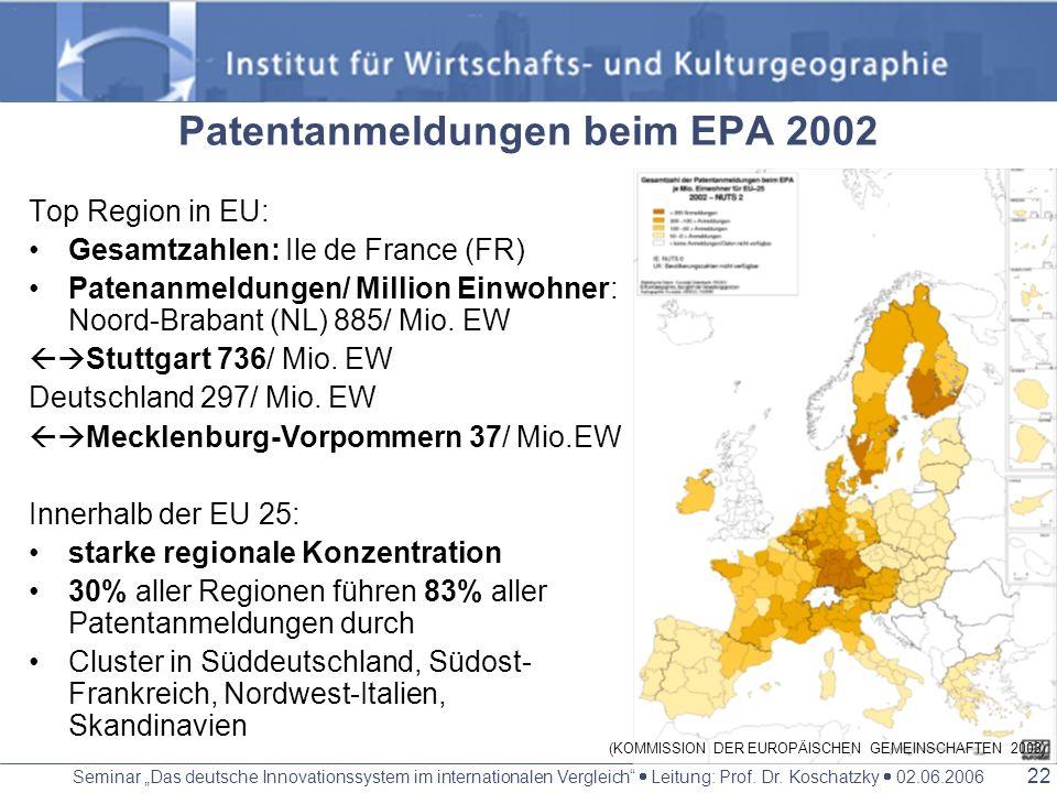 Patentanmeldungen beim EPA 2002