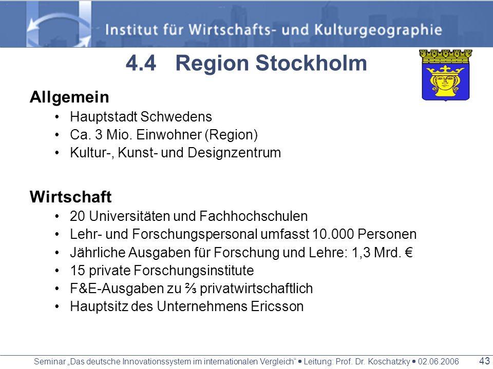 4.4 Region Stockholm Allgemein Wirtschaft Hauptstadt Schwedens