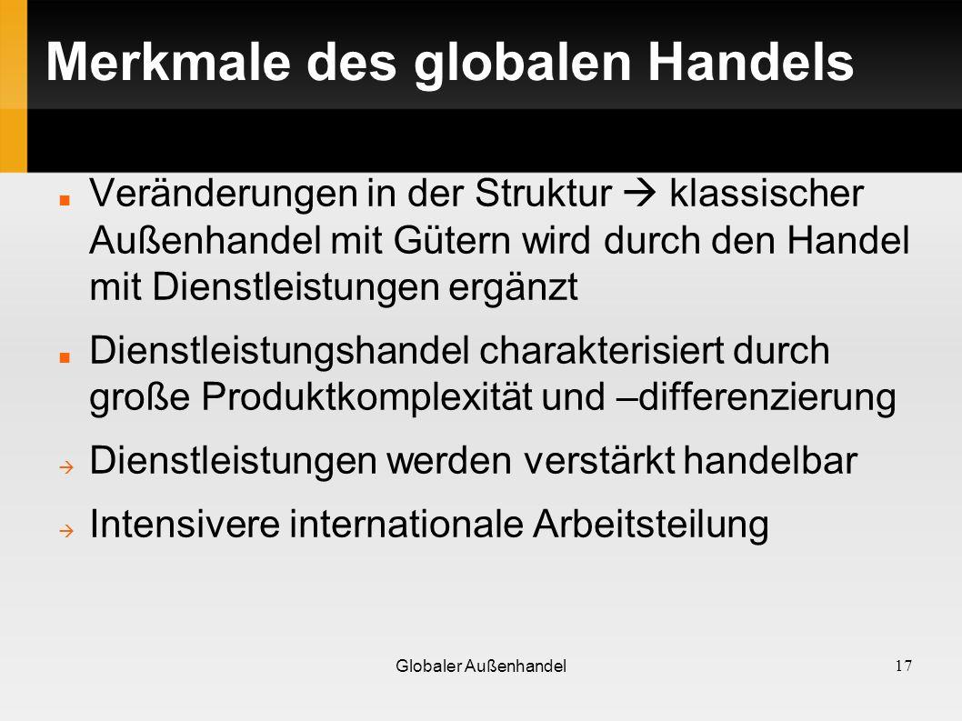 Merkmale des globalen Handels
