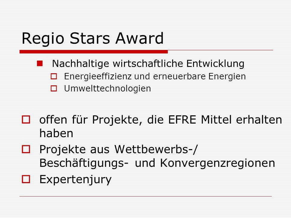 Regio Stars Award offen für Projekte, die EFRE Mittel erhalten haben
